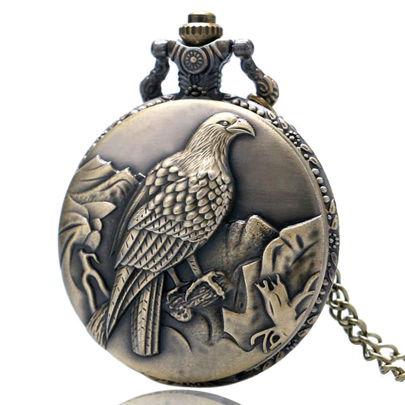 Antique Bronze Fob Clock Peace Dove Zegarek kieszonkowy z - Zegarki kieszonkowe - Zdjęcie 3