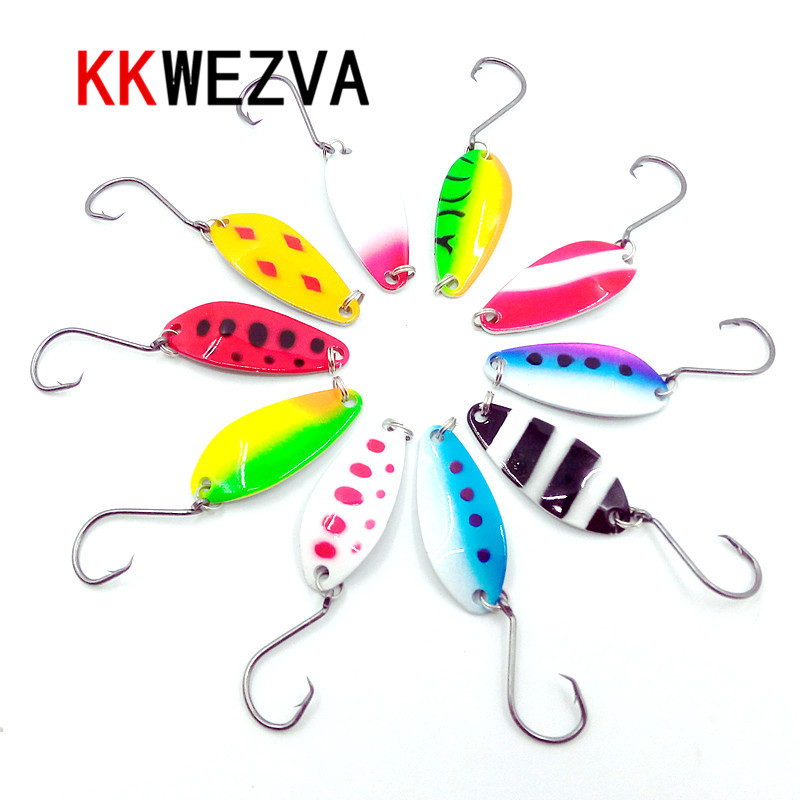 KKWEZVA 10pcs 4cm/6g color Fishing Lure Hook Mepps Spinner Spoon Lures With Mustad Treble Hooks Peche Jig Anzuelos De Pesc 1pcs 6cm 2 5g fishing lure hook mepps spinner spoon lures rotating metal sequins bait hooks peche jig anzuelos de pesca wq8065