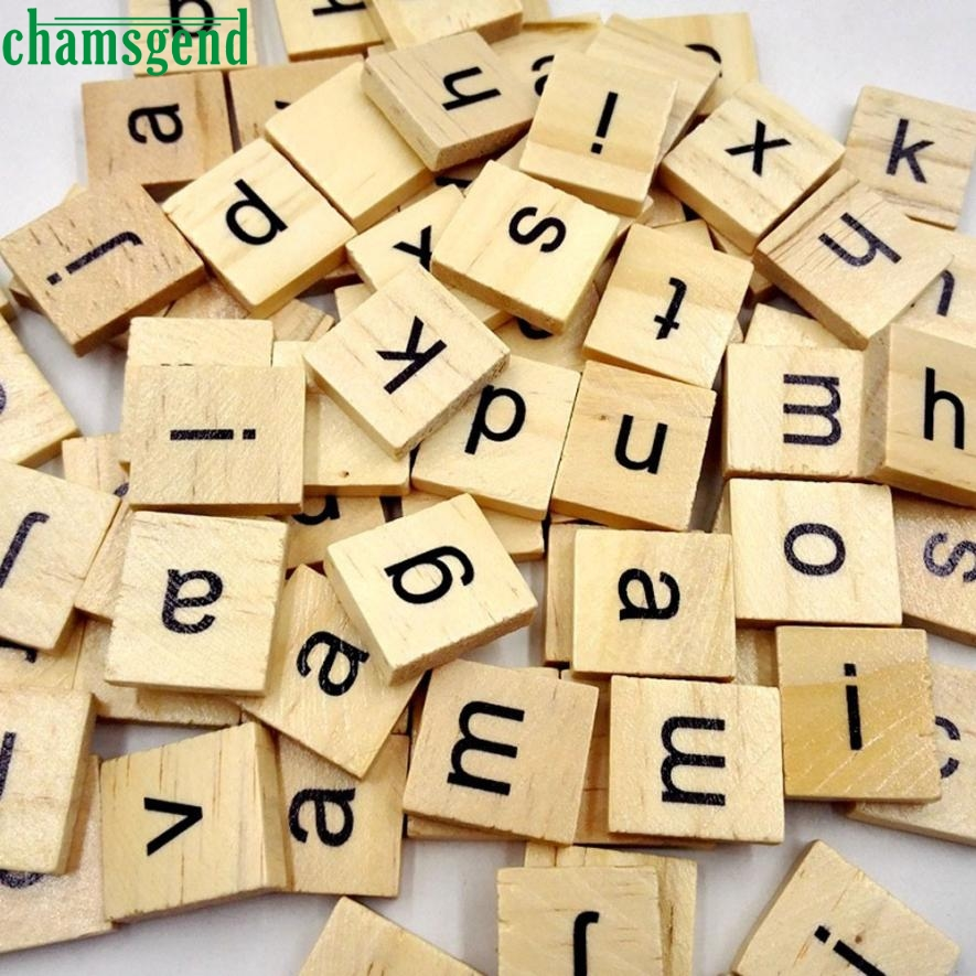 100 Wooden Scrabble Tiles Black Letters Numbers For Crafts Wood Alphabets M3132