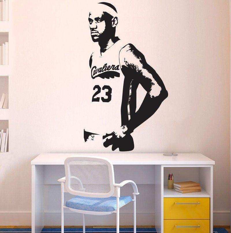 P001 2016 Nový skvělý basketbalový hráč Vyměnitelný vinyl Lebron James Nástěnné samolepky pro děti Pokojová doprava zdarma