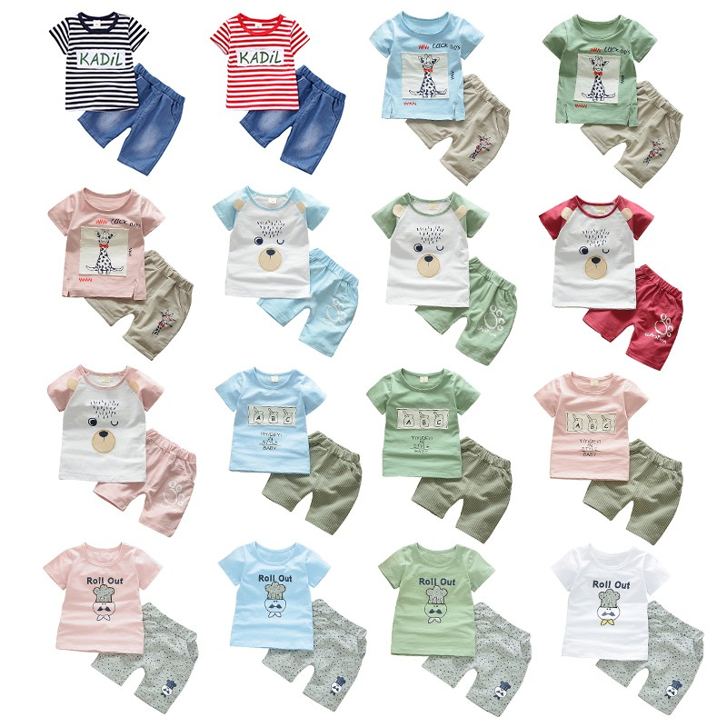 Baby Boy Girls Clothes Summer 2018 Newborn Cartoon Cotton Baby Clothes Set Baby Clothing Suit (Shirt+Pants) Striped Plaid Infant baby boy clothes monkey cotton t shirt plaid outwear casual pants newborn boy clothes baby clothing set