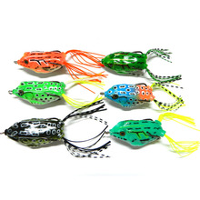 1 pc New Soft Frog Lure Bass Fishing Double Hooks Bait Crankbaits fishing Tackle Topwater Gear Accessories 6 colors YE-68