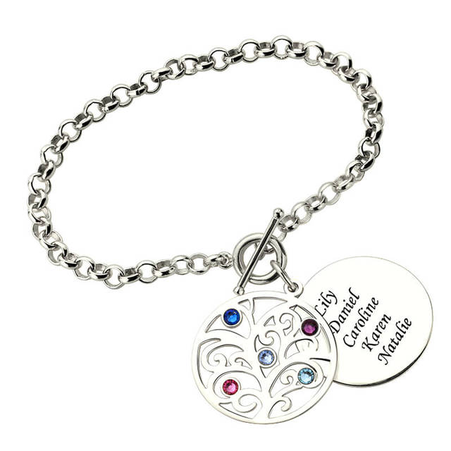 Engraved Family Tree Bracelet With Birthstones Silver Mother Birthstone Jewelry Gift For