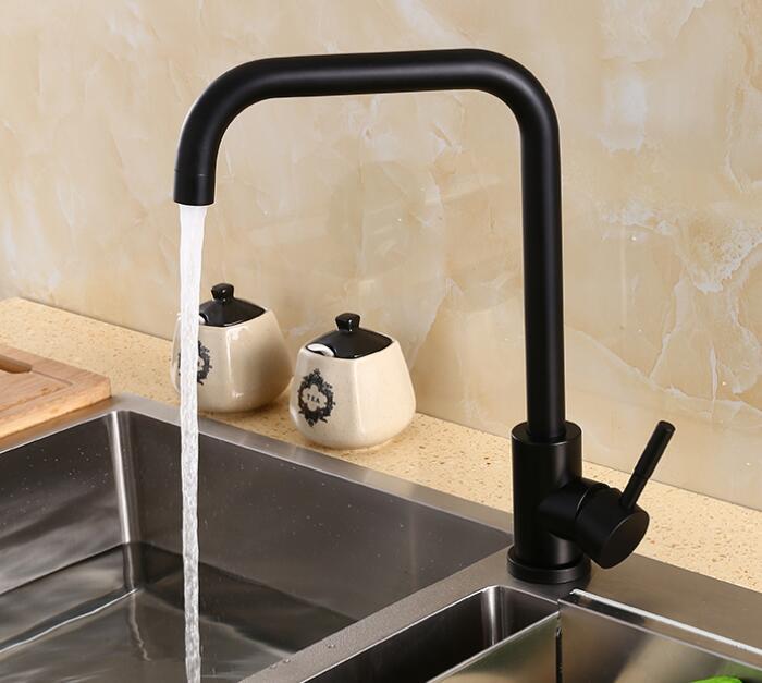 Livraison gratuite robinet de cuisine en acier inoxydable noir 360 degrés pivotant mitigeur évier cuisine Vintage mélangeur 369