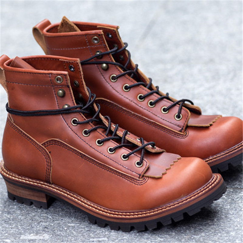 Parachute quality genuine leather lace up motorcycle  fashion boots formal autumn round toe ankle Boots