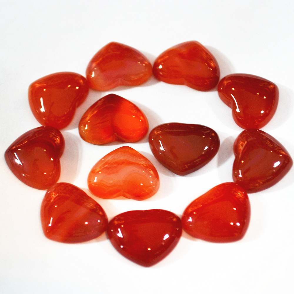 Hot Fashion Natural Stone Heart CAB Cabochons 15*18mm Onyx Carnelian Beads For Fine Jewelry Making 30PCS Wholesale Free Shipping