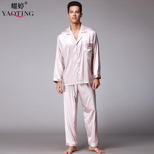2 Pcs New Mens Silk Satin Pajamas Pajama Pyjamas Set Comfortable Nightgown Sleepwear For Male Sleepwear Night Gown TZ077