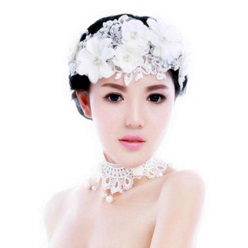 گل توری سفید گلهای مروارید کریستال هدست Tiara de Noiva جواهرات مو عروس خانمها لوازم جانبی عروسی خانمها SL