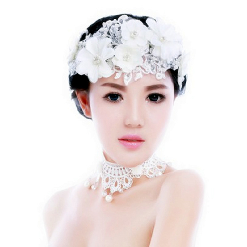 White Lace Flowers Crystal Pearl Headbands Headpiece Tiara de Noiva Հարսանյաց մազերի զարդեր Կանացի հարսանեկան պարագաներ SL