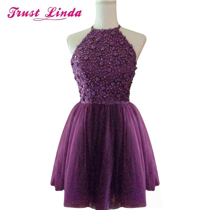 Free Shipping Pretty Halter Purple Keyhole Back Beading Short   Bridesmaid     Dresses   Vestido De Festa Party   Dress   Real Prom   Dresses