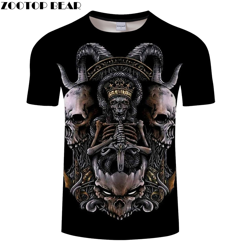 King of Skull Men t shirt 3D Print tshirt Streatwear T-shirt Male Top Summer Tee Short Sleeve O-neck Hip Hop Dropship ZOOTOPBEAR