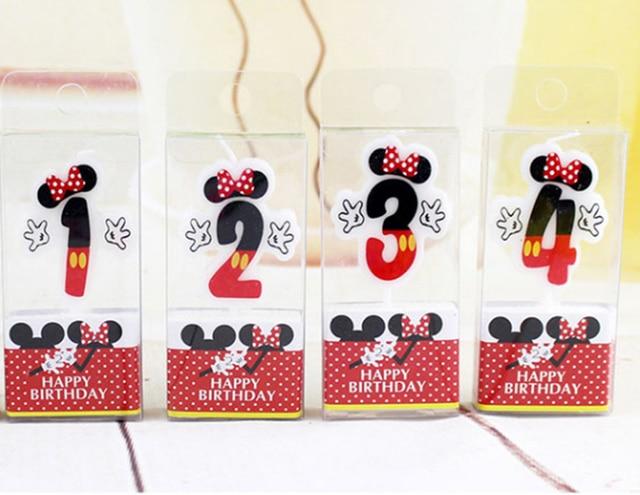 1 Uds. Vela caliente de dibujos animados de cumpleaños Mickey Minnie Mouse vela números para tarta 0-9 edad vela niños cumpleaños Decoración de Pastel de fiesta
