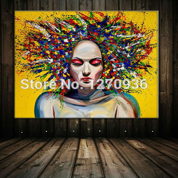 Multi-colored Explosion Sexy Lady Oil Painting 100% Hand-painted Oil Painting on Canvas Colorful Decorative Wall Art Pictures