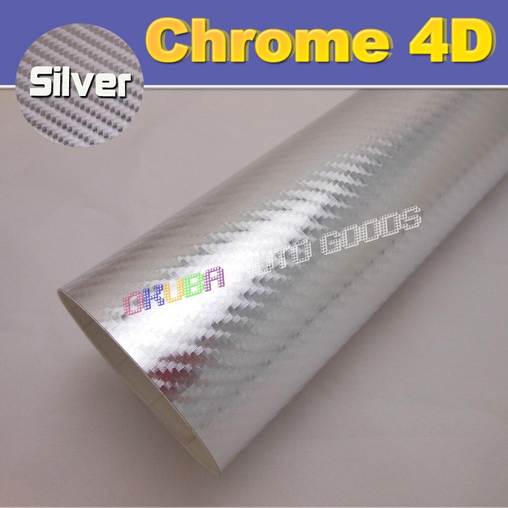 High Quality Silver Chrome 4D Carbon Fiber Vinyl Film For car wraps with Air Bubble Free Size:1.52*30M
