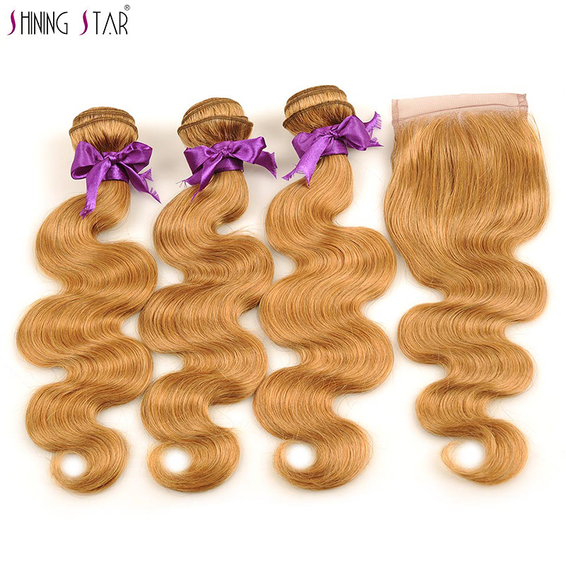 Shining Star Peruvian 3 Honey Blonde Bundles With Closure Human Hair Colored 27 Body Wave Bundles