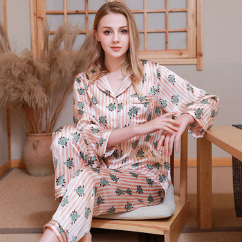 Women Real Silk Pajamas Sets 2020 Summer Long Sleeve Pajamas Set 2 Pieces Set Pyjamas Women Pijama for Women Silk Sleepwear set