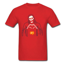 New Follower T-shirt Men Novelty Skull T Shirt Groups Custom Clothes Grim Reaper Funny Tops Tees Cotton Red Halloween
