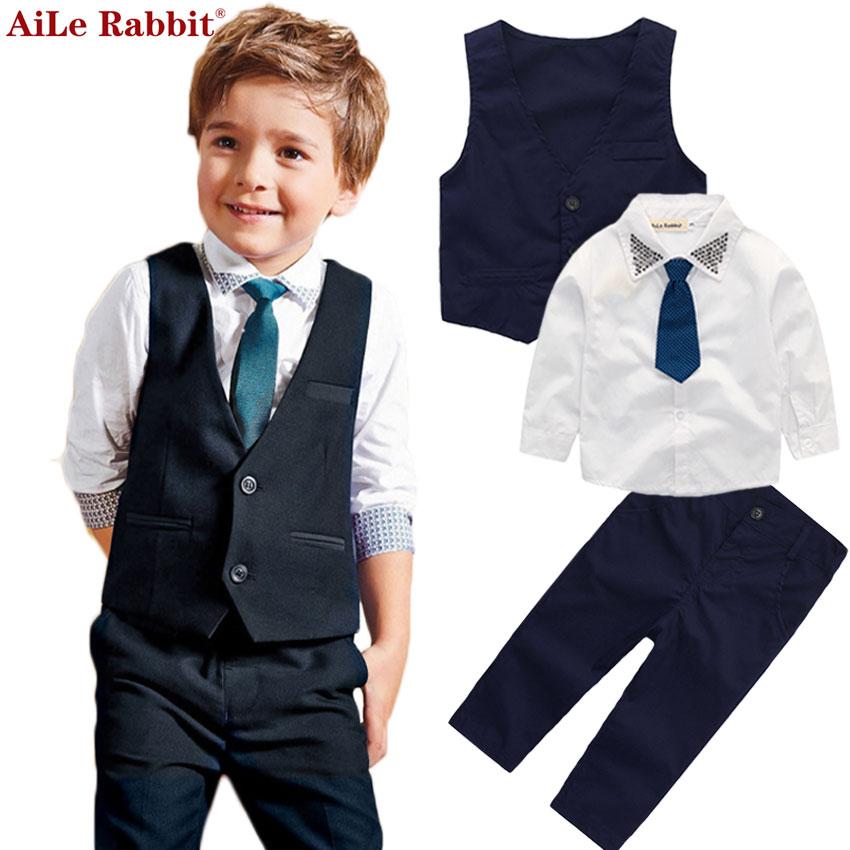 AiLe Konijn Gentleman Jongens Vest Shirt Broek 3 Stuks Past Fashion Heldere Kraag Tie Apparel Lange Mouw Herfst Hot k1