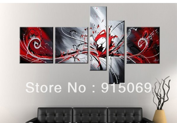 Whole Black Red White Abstract Wall Art Canvas Oil Painting 100 Hand Painted Home Decor