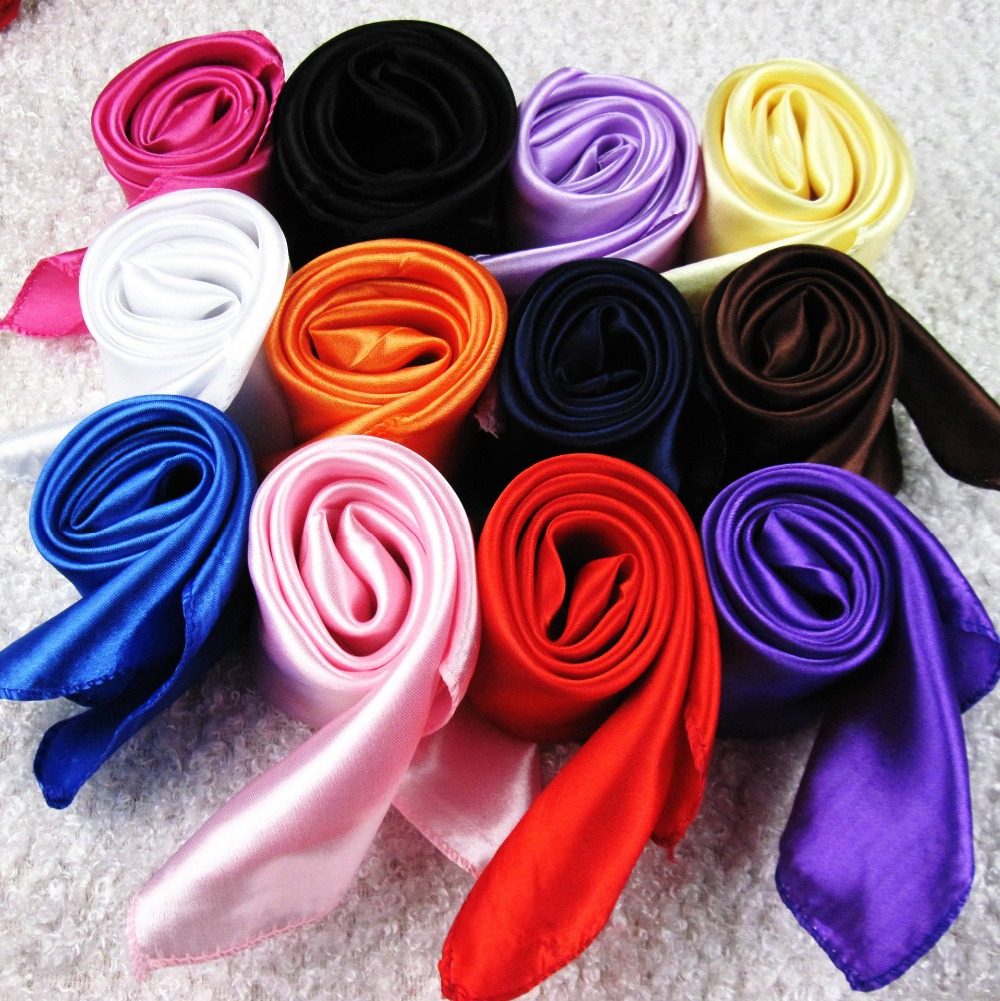 50X50CM Fashion Solid Women Square Scarf Fake Silk Wraps Elegant Floral Spring Summer Head Neck Hair Tie Band Neckerchief(China)