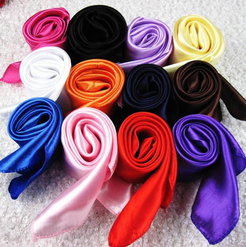50X50CM Fashion Solid Women Square Scarf Fake Silk Wraps Elegant Floral Spring Summer Head Neck Hair Tie Band Neckerchief