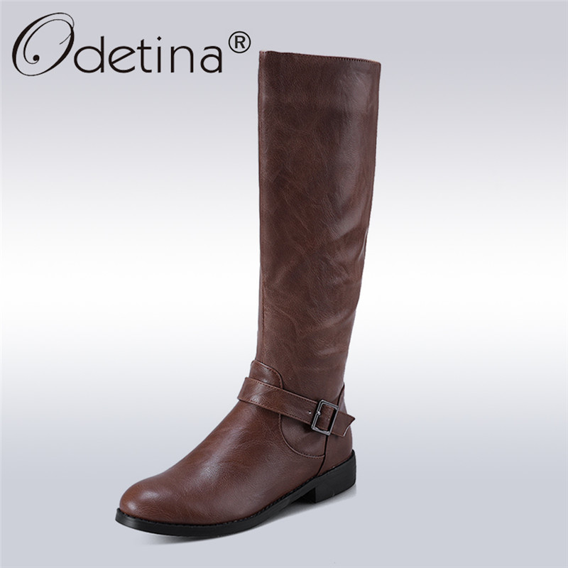 Odetina 2017 Women Riding Boots Round Toe Chunky Low Heel Autumn Winter Shoe Side Zip Fashion Buckle Knee High Boots Big Size 34 2015 hottest drop shipping vintage round toe strappy zip knee high boots studs chunky heel leather boots women high heels j459
