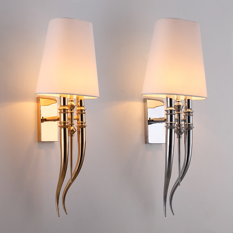 Moderne Fer Griffe Corne Tissu Mur Lumière Chambre Lampe De Mur De Chevet E27 Luminaire double curseur Mur Applique luminaires