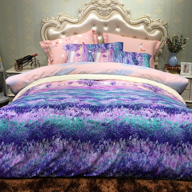 Pima Cotton Printing Plants Line Bedding Set Duvet Cover Bed Sheet Pillowcase Linen Bedclothes Home