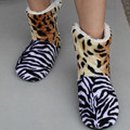Best Selling Leopard House Slippers Home Shoes Zebra Warm Home Shoes Coral Fleece Indoor Floor Socks Soft Sole Floor Slipper