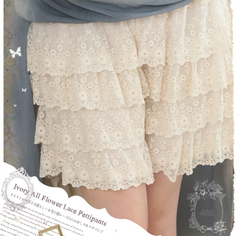 Mori Girls Creamy White Multi Layered Floral Lace Sweet Lolita Safety Shorts