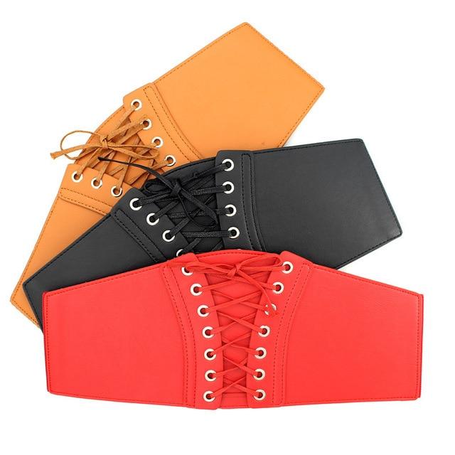 whole colored Belt Corset Lace up Wide Belts for Women Black Cummerbund for Evening Dress Fashion Clothes Accessory