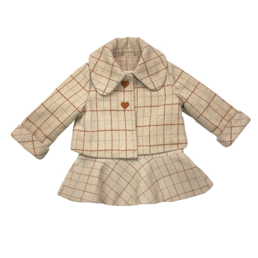 Kids girls autumn clothing set plaid turn-down collar coat +overall dress boutique toddler girls clothes set