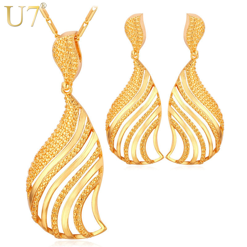 U7 Dubai Gold Color Jewelry Set Fashion African Jewelry Hollow en forma de abanico cuelga aretes y collar Set para regalo de mujer S664