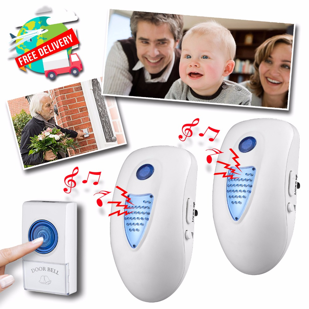 32 Melody Chimes Home Wireless Plug Doorbell 100M Wireless Range Cordless Door Bell 1  Button 1 Receiver