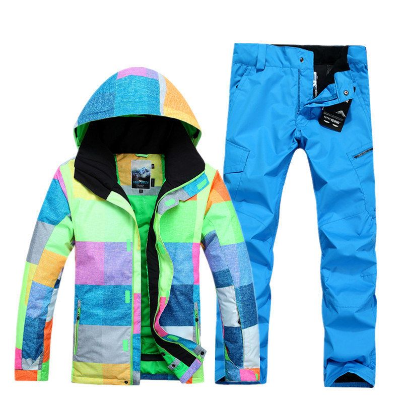 Gsou snow combinaison de Ski homme simple Double planche coupe-vent imperméable combinaison de neige hiver chaud manteau de Ski + pantalon de Ski pour hommes