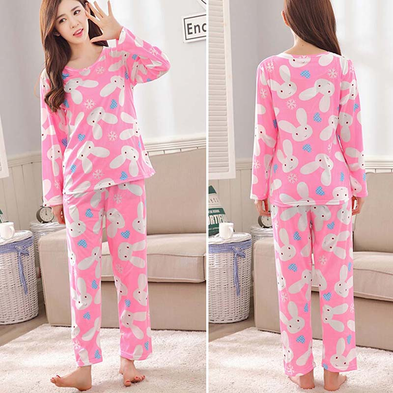 Women Long Spring Autumn cute Pajamas Sets Thin Carton GenerationSleepwear Suit Home Women Gift Female Sleepwear