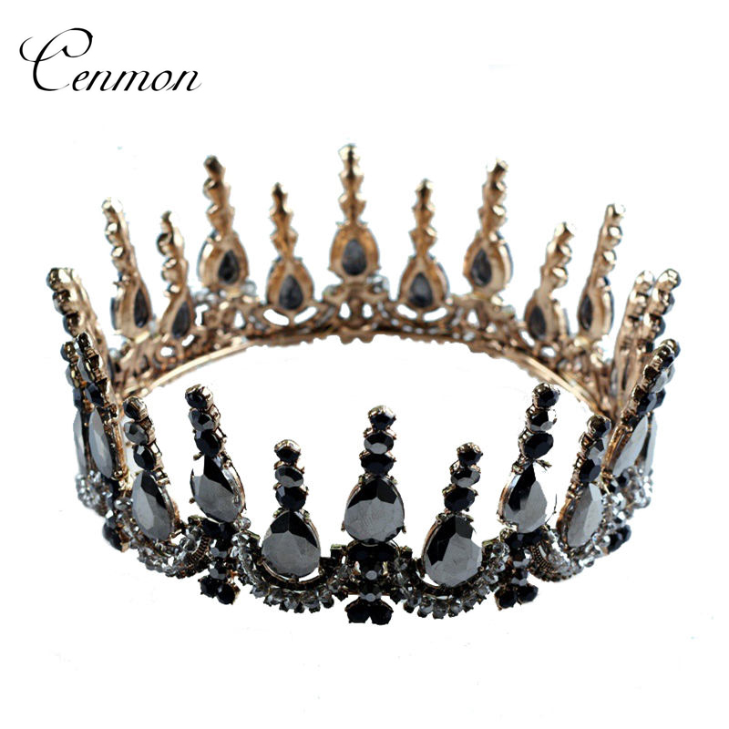 Princess Bride Tiara Black Crystal Gold Wedding Crown Head Jewelry Prom Diadem Headband Queen King Tiaras and Crowns accessories