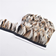 1Meter/Lot Natural Pheasant Feather Trim Fringe Ribbon Width/6-8CM Rooster Goose Feathers for Crafts Wedding Decoration
