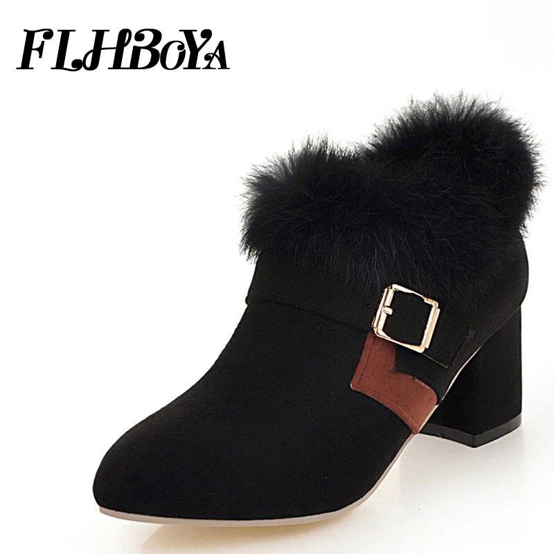 2018 New Women Square Heels Warm Plush pumps shoes with fur Ladies Winter Nubuck Block Thick heels Buckle strap Mary Janes shoes xiaying smile woman pumps shoes women mary janes british style fashion new elegant spring square heels buckle strap rubber shoe