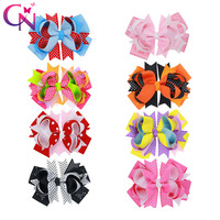 8 Colors 16 Pcs 5 Boutique Halloween Hairbows With Clips For Girls Kids Handmade Hairgrip Dot Printed Knot Bow Hair Accessories
