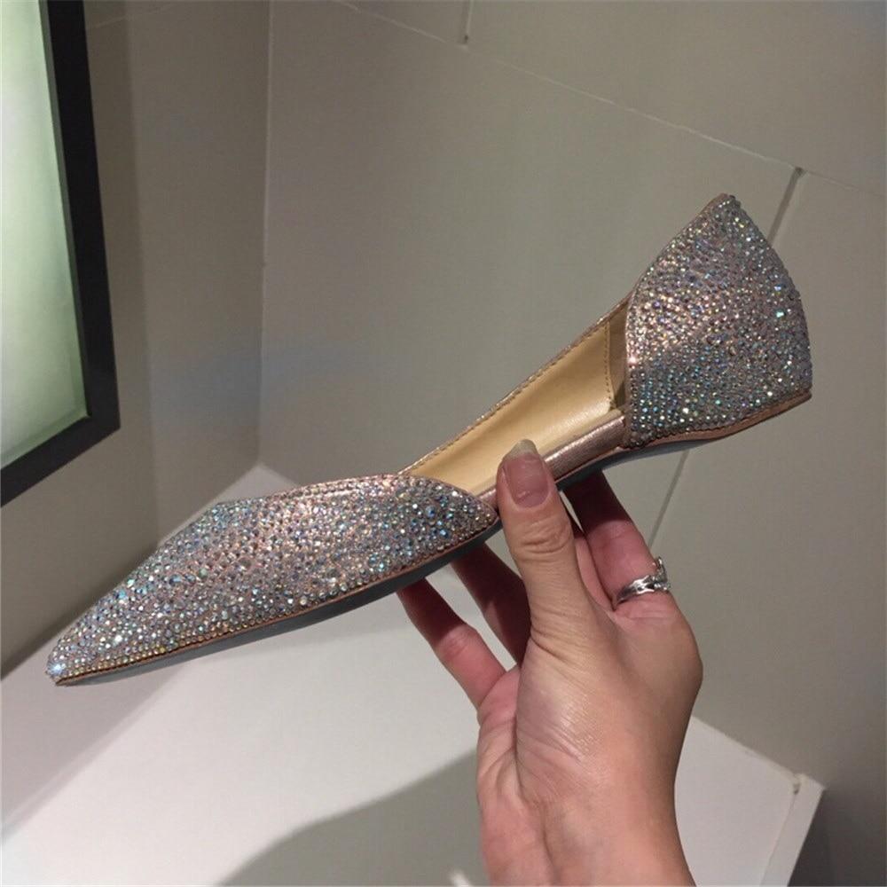 女性のクリスタル新ホット販売の光沢のあるフラットシューズレディース本革ポインテッドトゥソフト通気性ドレスパーティー靴  グループ上の 靴 からの レディースフラット の中 1