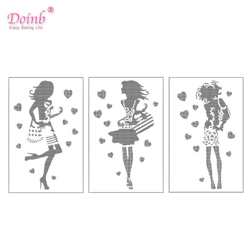 3PCS/Set Career Lady Girl Plastic Spray Flower Cake Mold Strew Pad Stencil Duster Cupcake Fondant Decoration Baking Tool Moulds