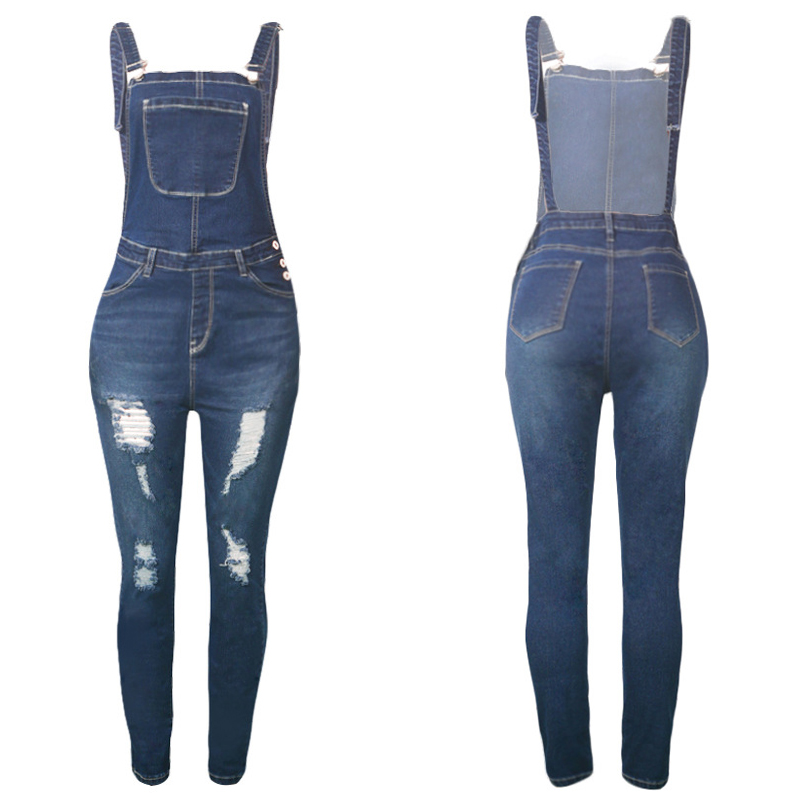 45f6131b346a Women Sexy Stretch Denim Jumpsuit Jeans Ripped Hole Backless Hollow Out  Female Romper Vintage Strap Overalls Boyfriend Jump Suit-in Jumpsuits from  Women s ...