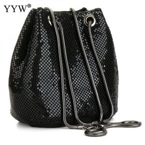 Image 3 - 여성을위한 블랙 패션 체인 숄더 가방 저녁 파티 양동이 스팽글 가방 2020 은색 골드 지갑 여자 핸드백 여자 dropship