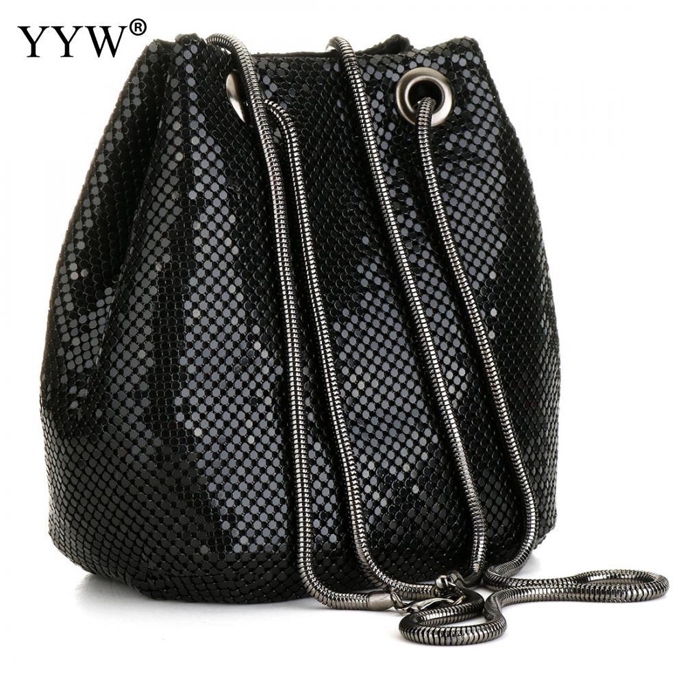 black Fashion Chain Shoulder Bag Evening Party Bucket Sequin Bag For Women 2018 Sliver Gold Purse girl Handbags Female dropship