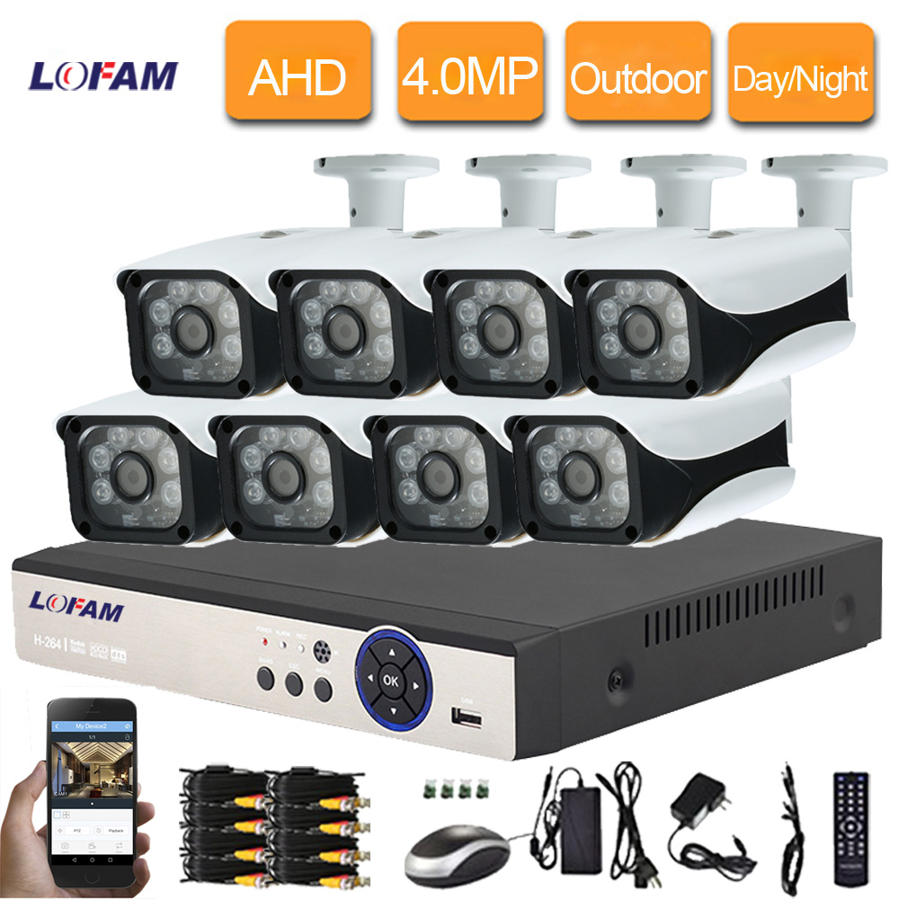 LOFAM 8CH CCTV Camera System 4MP AHD DVR Kit Video Surveillance System 8CH Outdoor Waterproof 4