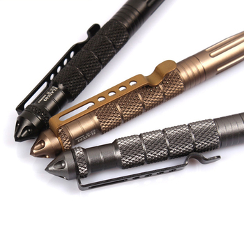 New Cool Black Ink Metal Ballpoint Pen Aviation Aluminum Alloy Anti slip Self Defense Tactical Pen