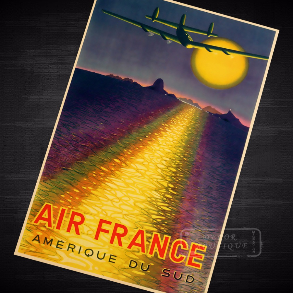Pop Art South America Air France Vintage Retro Travel Kraft Poster ...