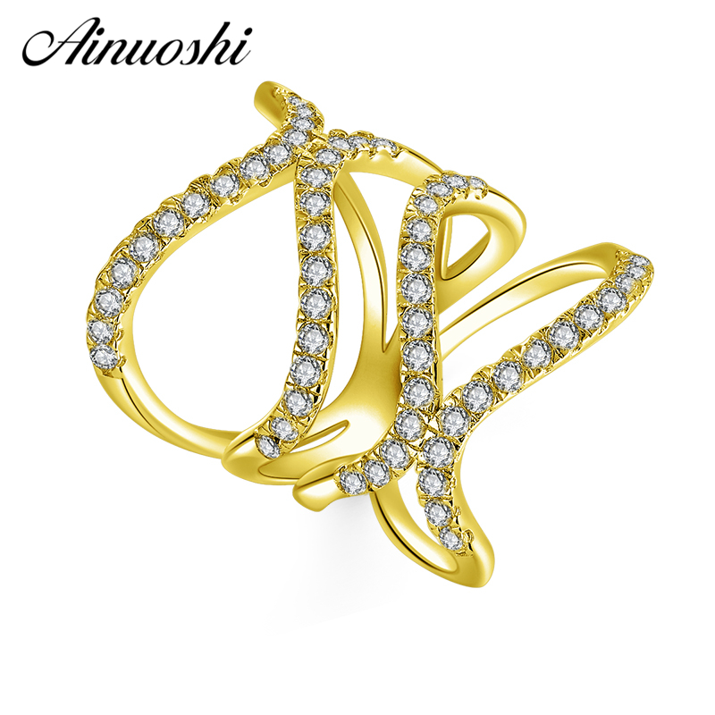 AINUOSHI 10K Solid Yellow Gold Line-Weaving Band Cluster Twisted Bague Bridal Ring Wedding Engagement Ring Jewelry for Women Men hama 53878 white