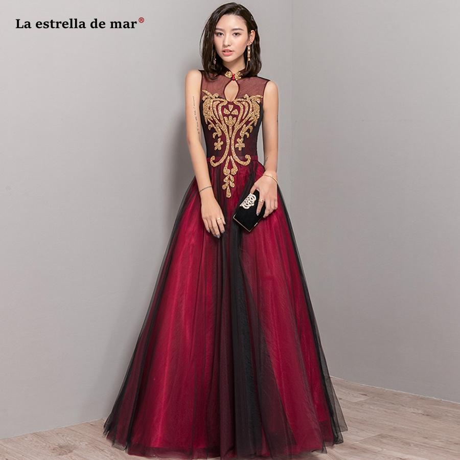 Vestido madrinha 2018 new high neck tulle sequins see a Line burgundy gold emerald green blush pink   bridesmaid     dresses   long